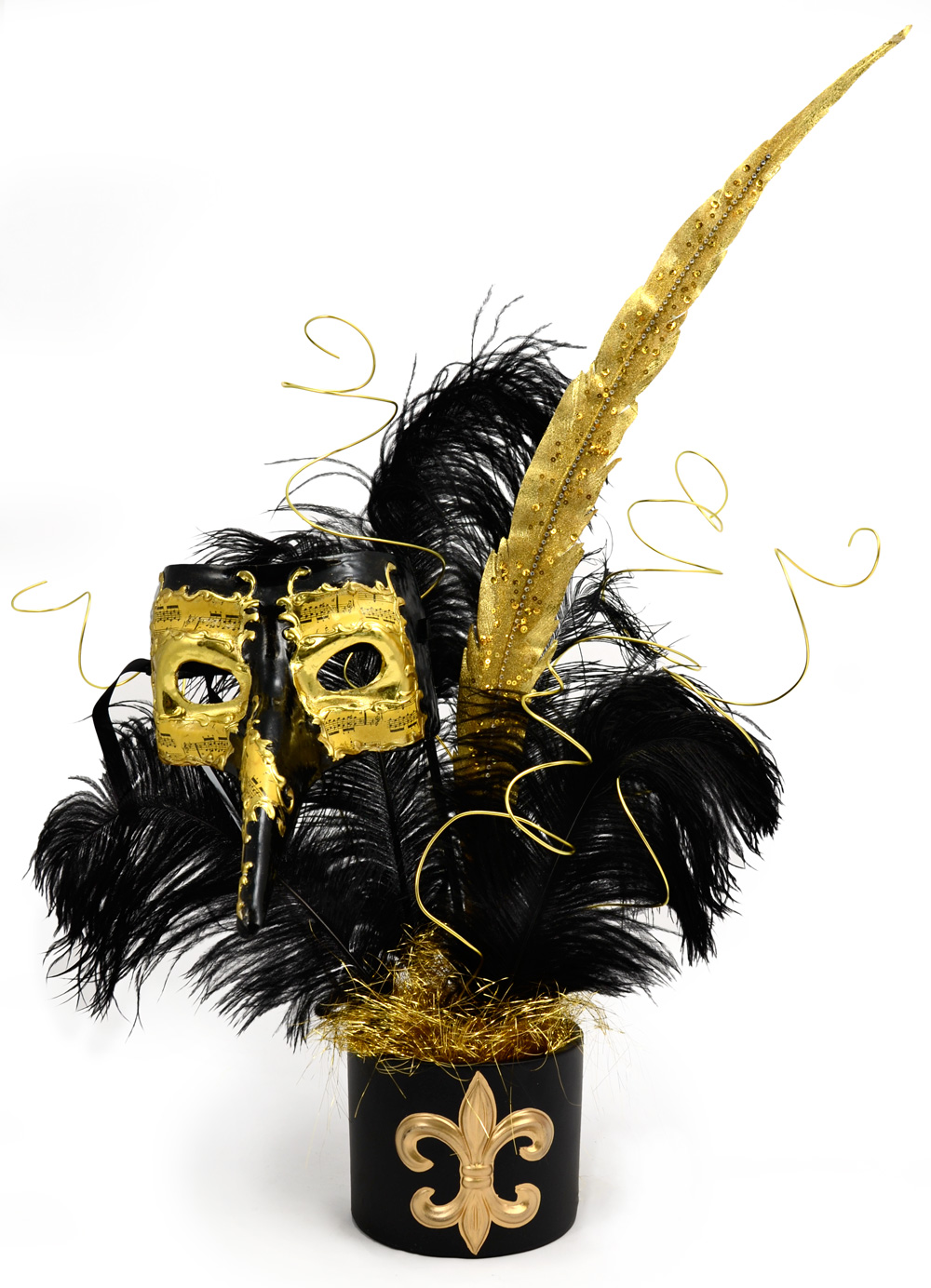 Black and Gold Mask Centerpiece