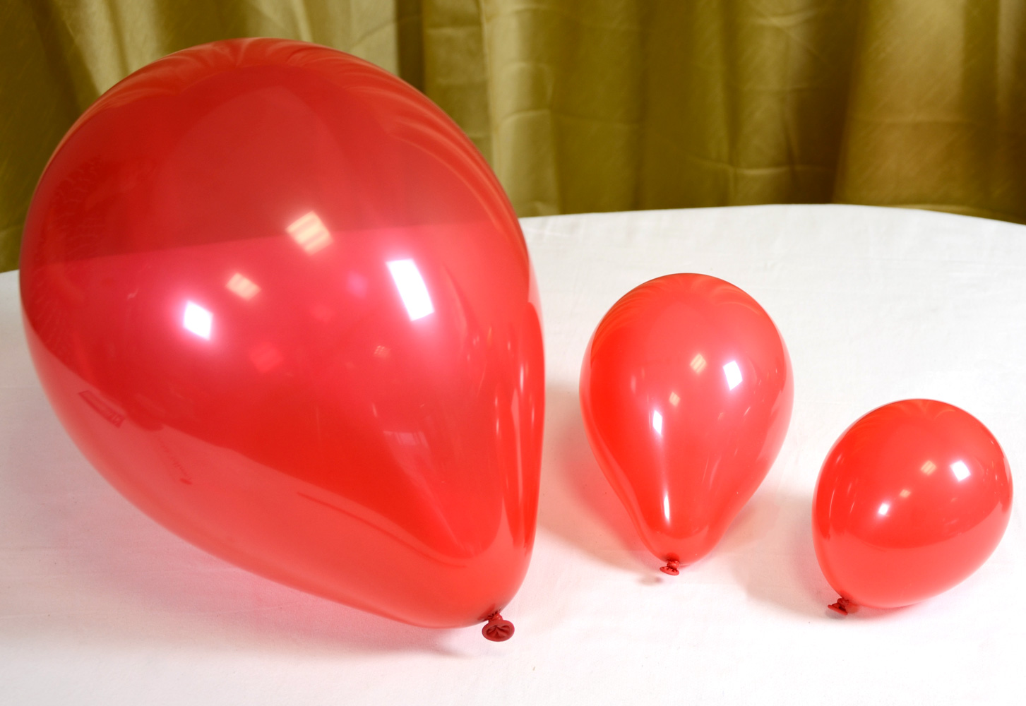 Three balloon sizes