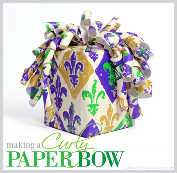 curly wrapping paper bow how to diy tutorial