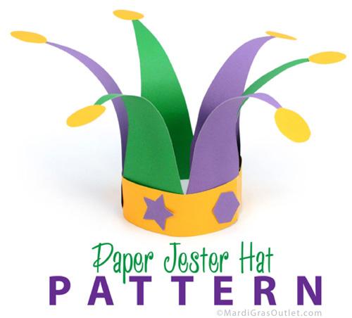 jester hat pattern template mardi gras kids crafts free