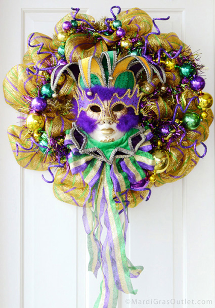 mardi gras deco mesh wreath how to make