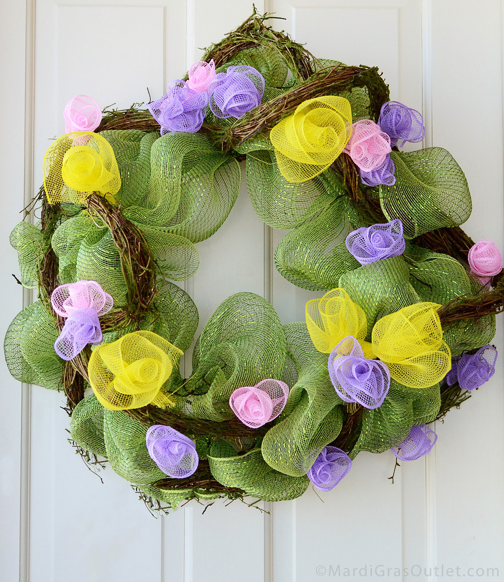 Party Ideas By Mardi Gras Outlet Spring Wreath With Deco Mesh Flowers Tutorial