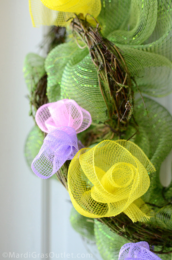 Party ideas by mardi gras outlet spring wreath with deco mesh flowers