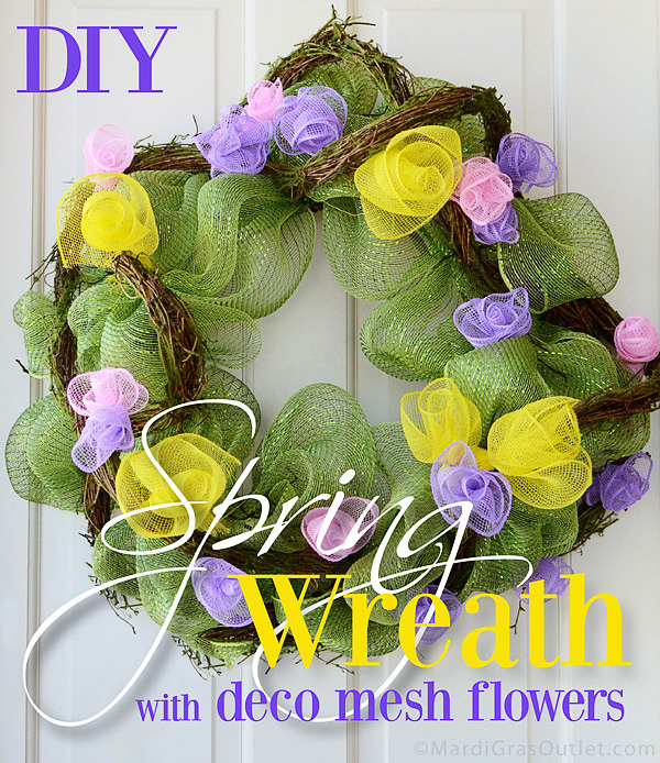 deco mesh wreath spring flowers tutorial