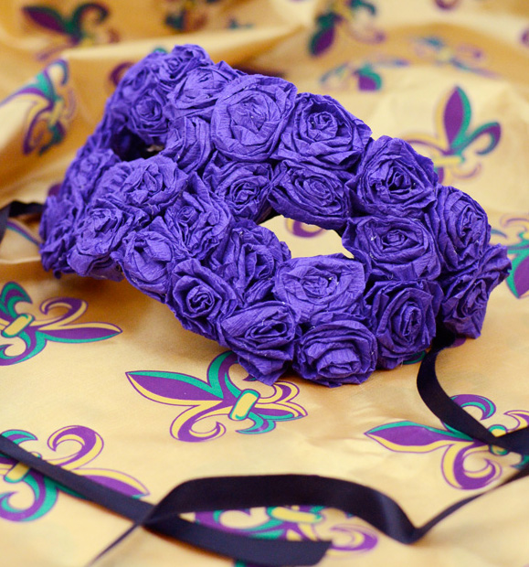 We Decided To Embellish A Basic Paper Mache Mask With Purple Crepe Rosettes For An Elegant And Ornate At Budget Friendly Price