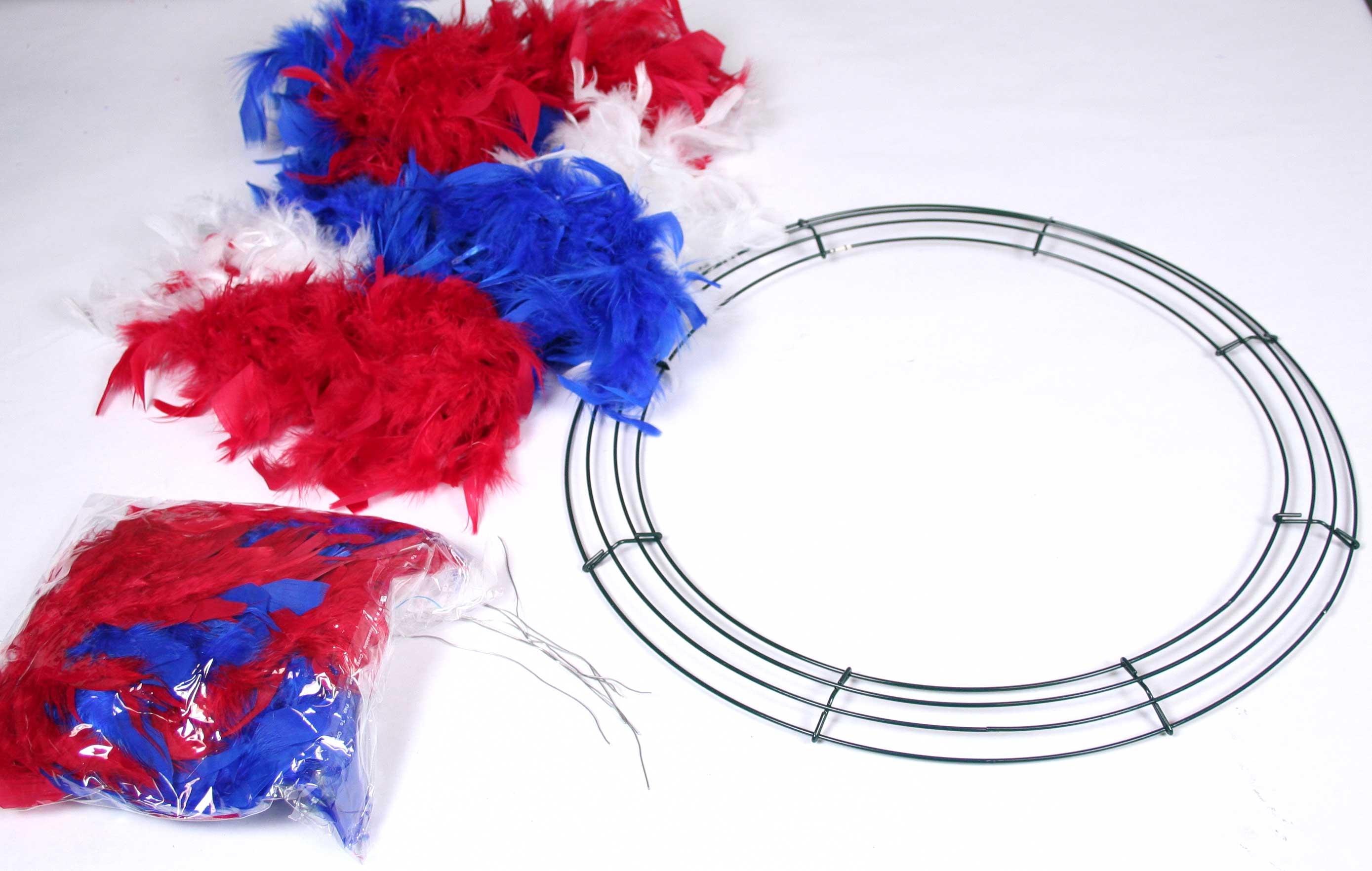 Fourth of July Feather Boa Wreath Tutorial