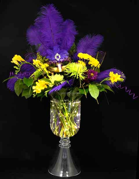 Glow in the Dark Mardi Gras Centerpiece