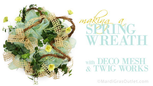 deco mesh spring wreath video tutorial diy instructions how to make twig works
