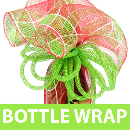 Gift Wrapping a Bottle with Deco Mesh