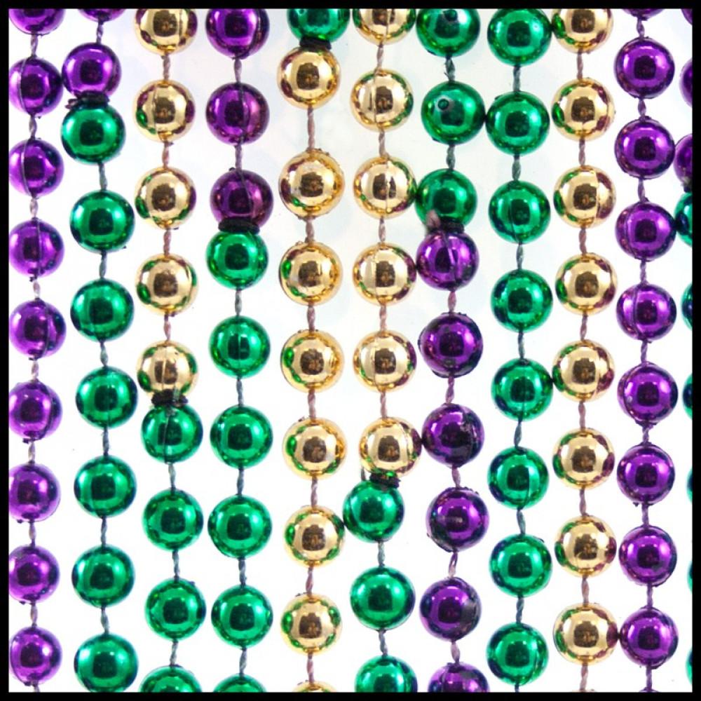 "8mm Beads 48"" Colors of Mardi Gras [848S 6PGG"