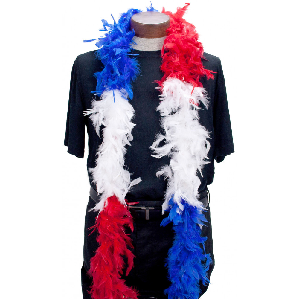 Red //White //Blue mixture 65 Grams Chandelle Feather Boa Party Halloween Costume