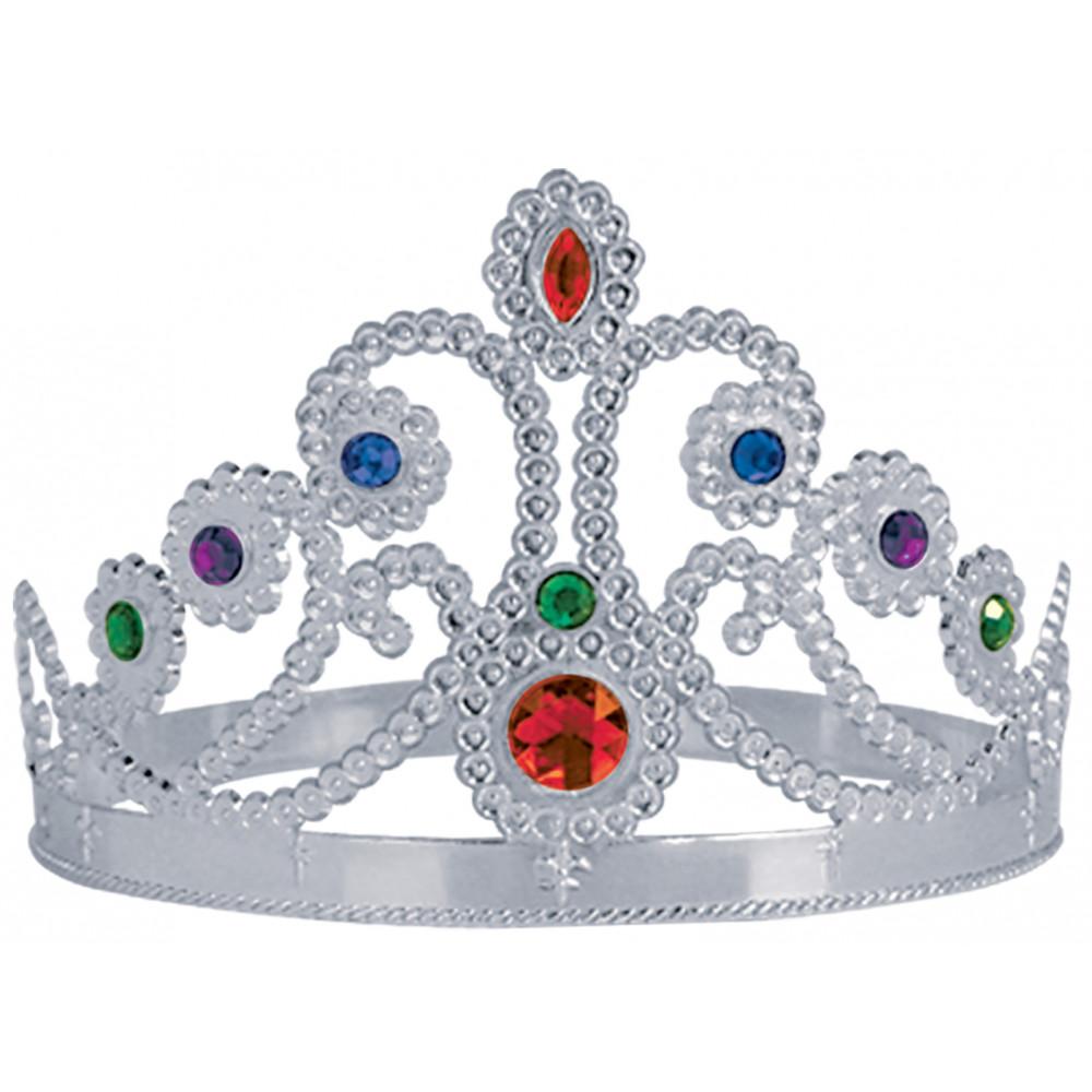 Plastic Queen's Crown: Silver [60251-S] - MardiGrasOutlet.com