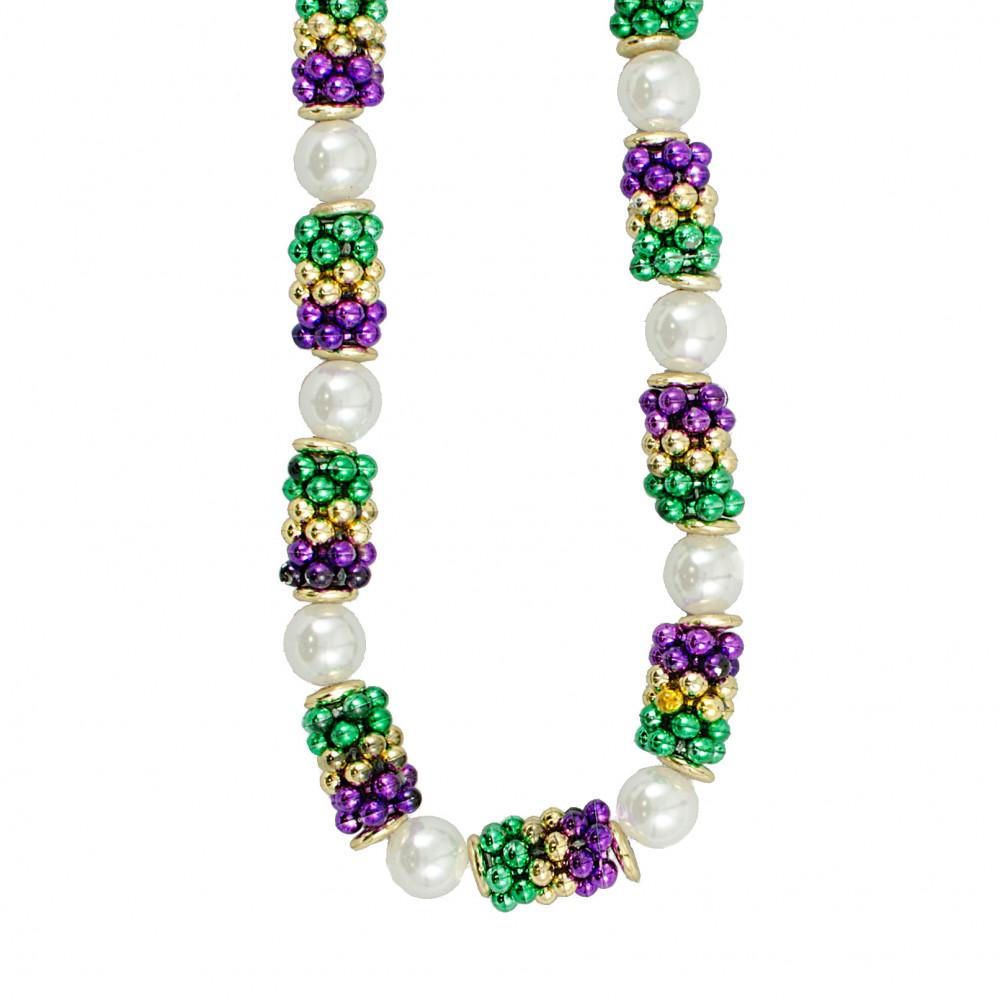 Handstrung Mardi Gras Pearl Cluster Bead Necklace [CST031R