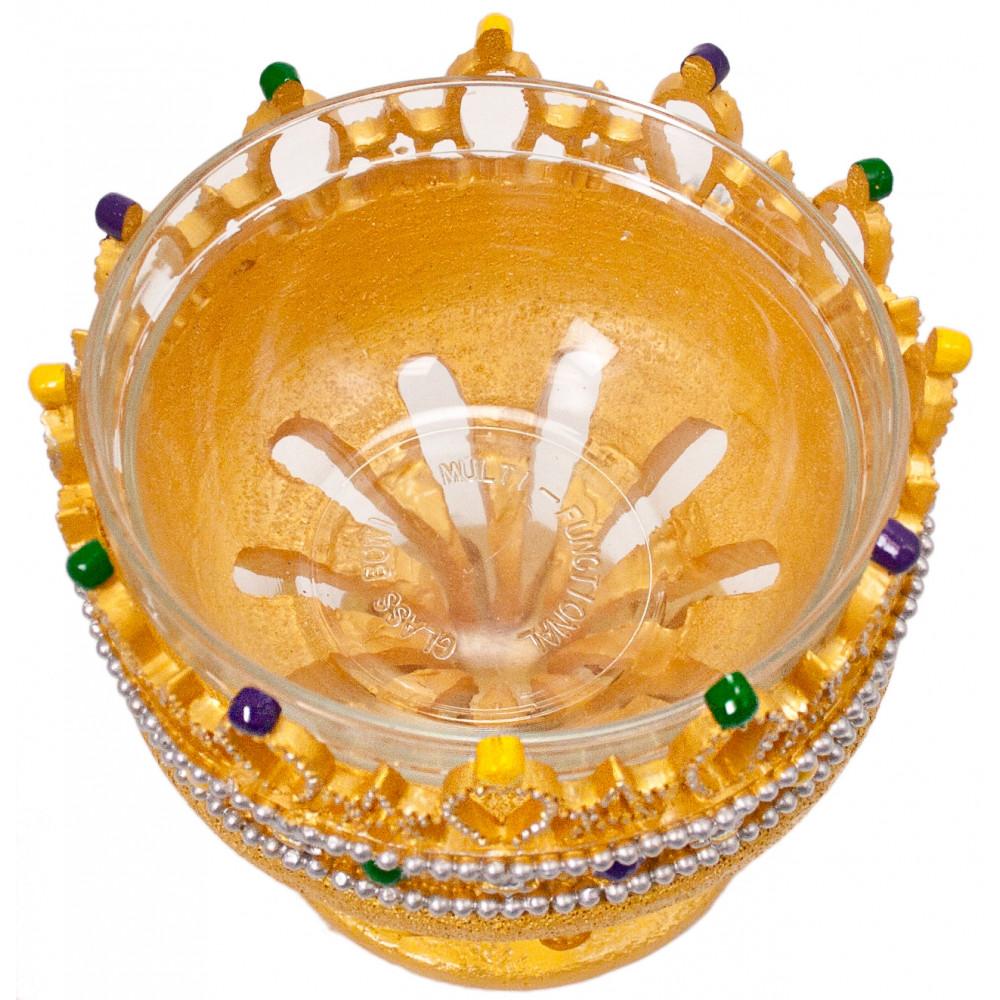 Large Crown Bowl: Gold [] - MardiGrasOutlet.com