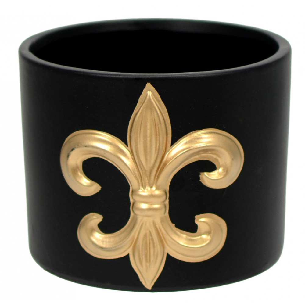 Black and Gold Fleur De Lis Vase: Round [620642 ...