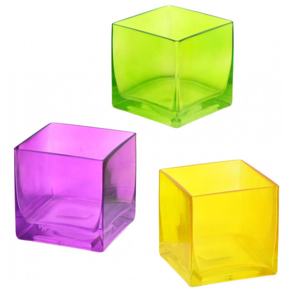 Glass Cube Vase 4 Quot Yellow Mardigrasoutlet Com