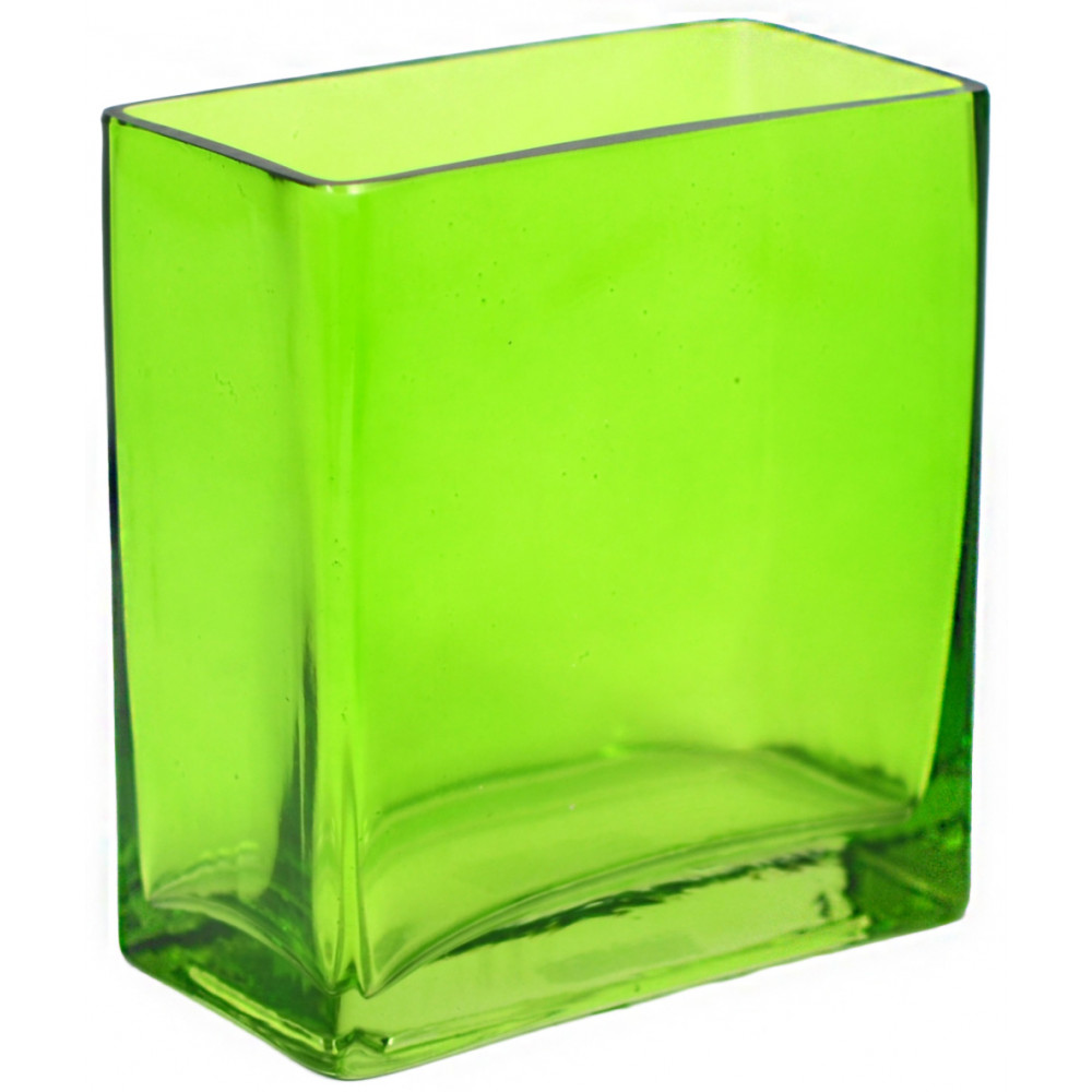 Glass Rectangle Vase 6 Quot Green Gh501509 Mardigrasoutlet Com