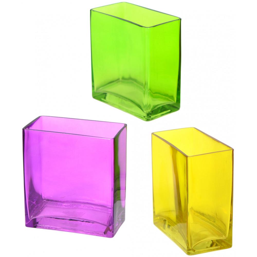 Glass rectangle vase 6 yellow gh501529 mardigrasoutlet glass rectangle vase 6 yellow reviewsmspy