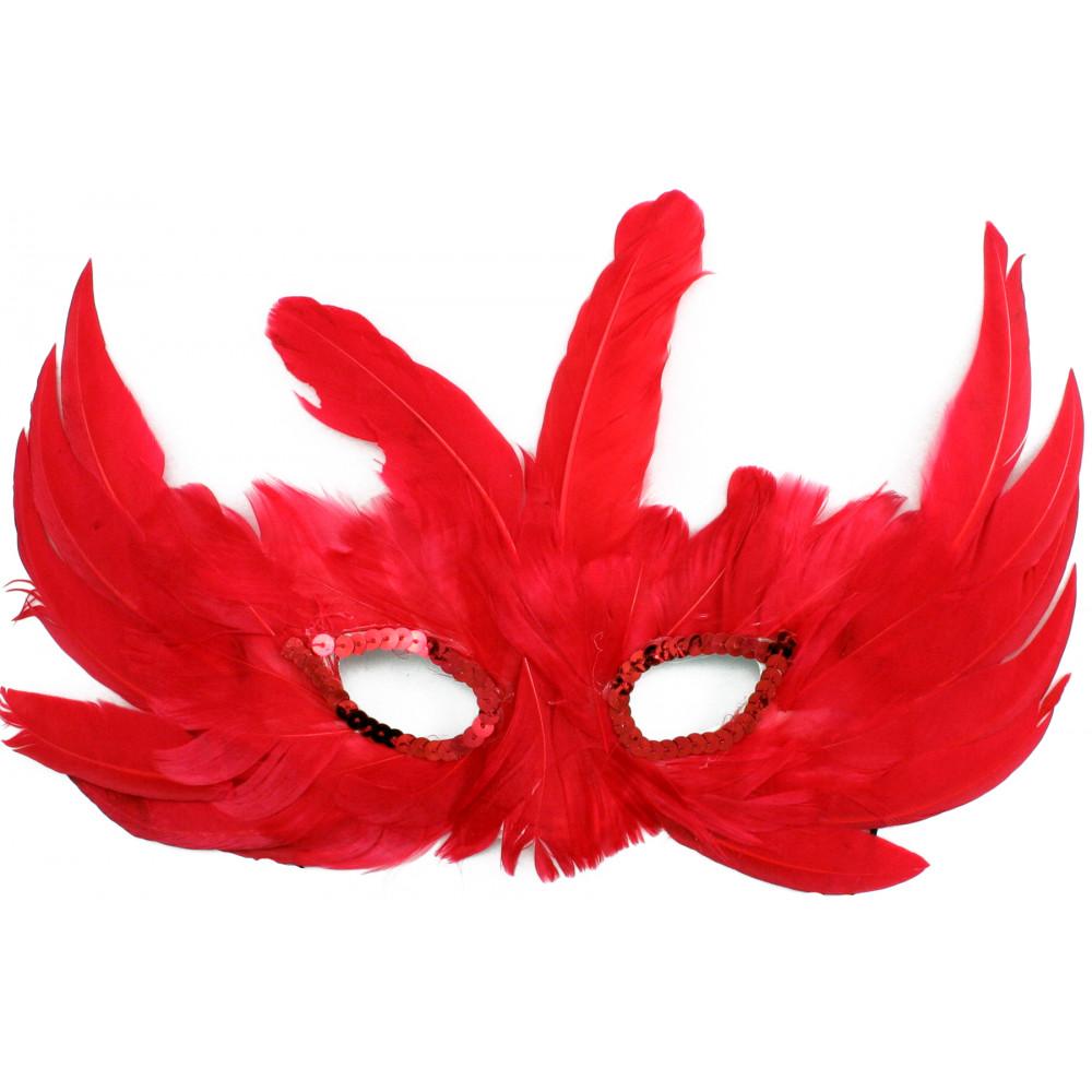 Red Bird Feather Mask [] - MardiGrasOutlet.com