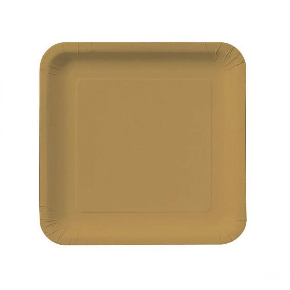 9 Square Dinner Plates Glittering Gold 18 Cr463276