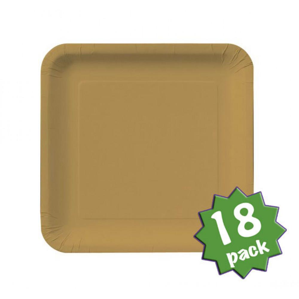 9 square dinner plates glittering gold 18 cr463276. Black Bedroom Furniture Sets. Home Design Ideas