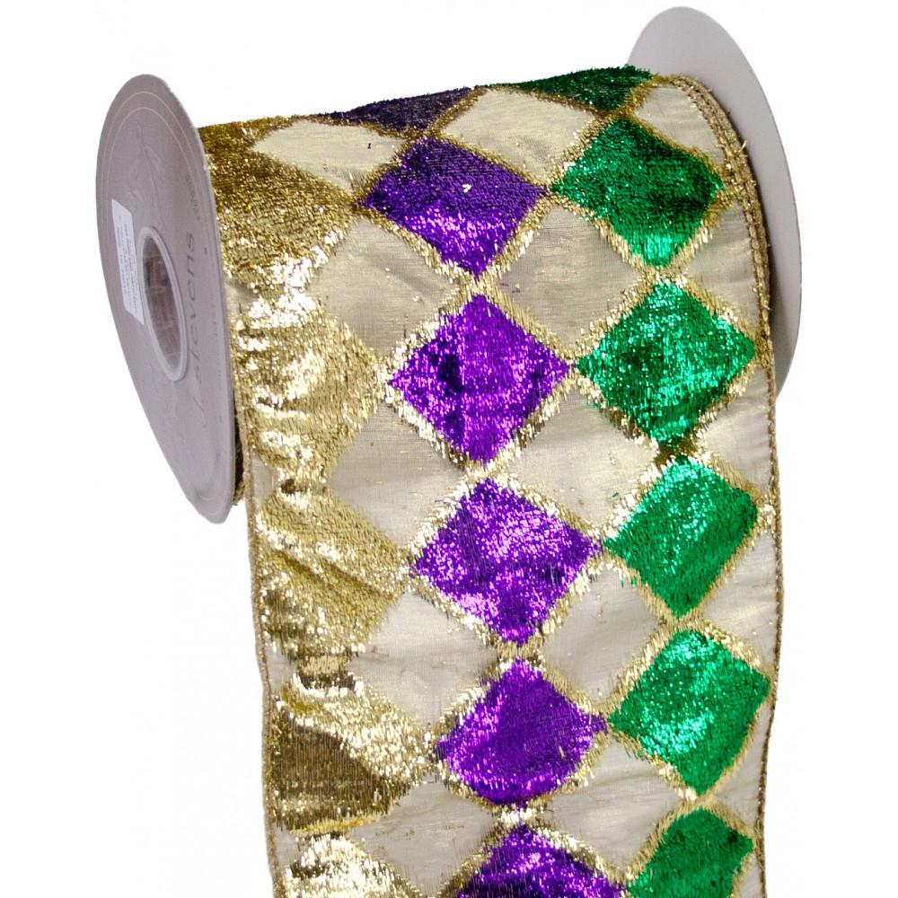 "Velvet Diamond Mardi Gras Ribbon (6"" x 5 Yards ..."