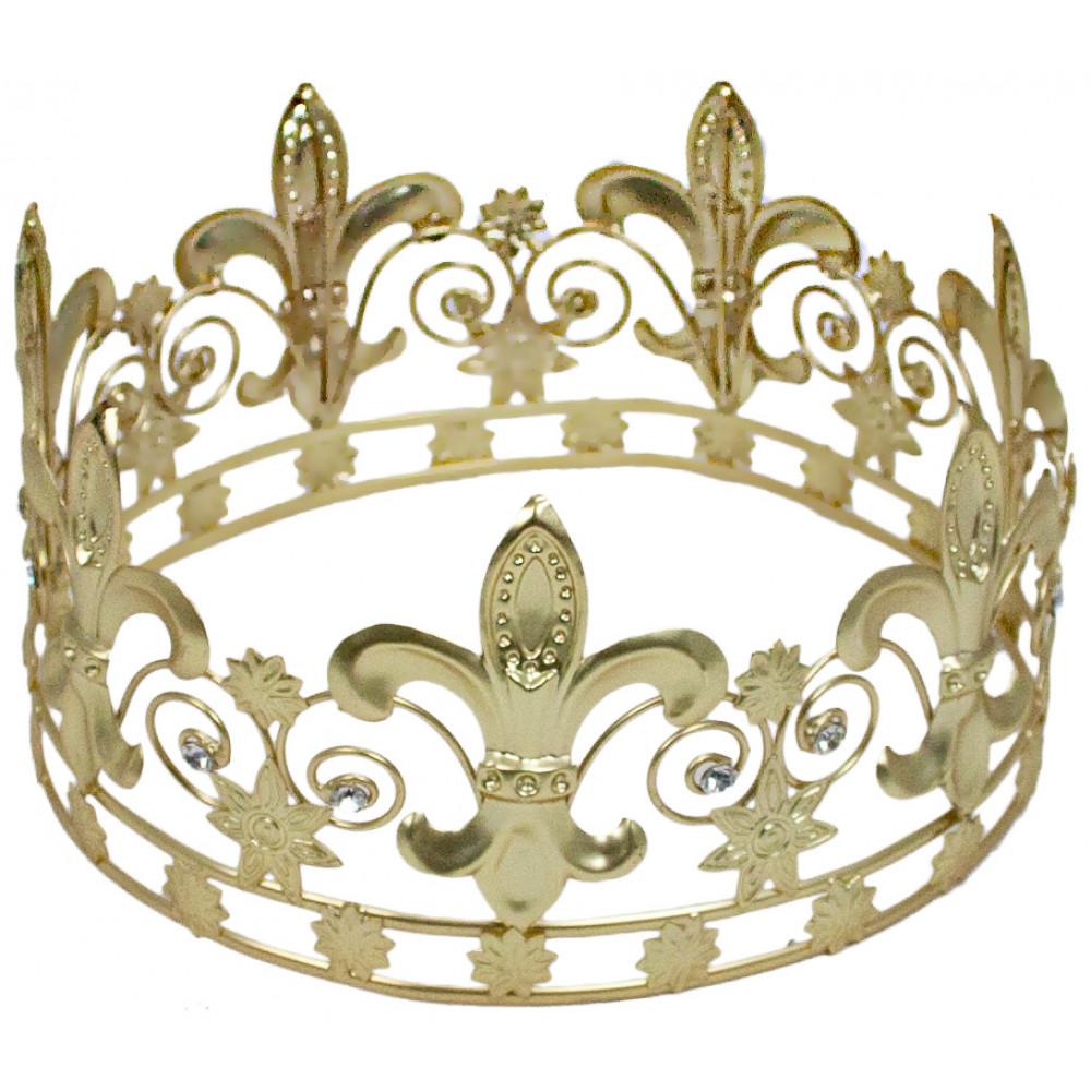 Matte Gold Fleur-de-Lis Crown [] - MardiGrasOutlet.com
