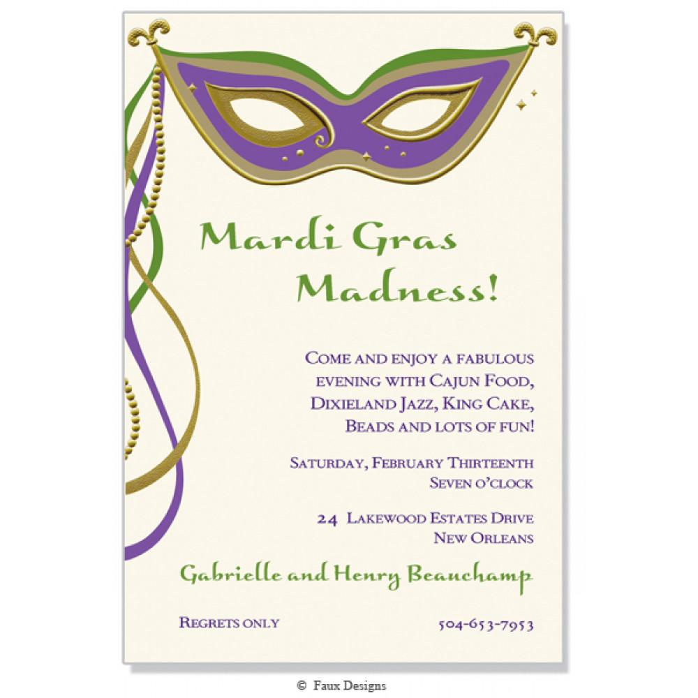 Masque Mardi Gras Invitation [] - MardiGrasOutlet.com