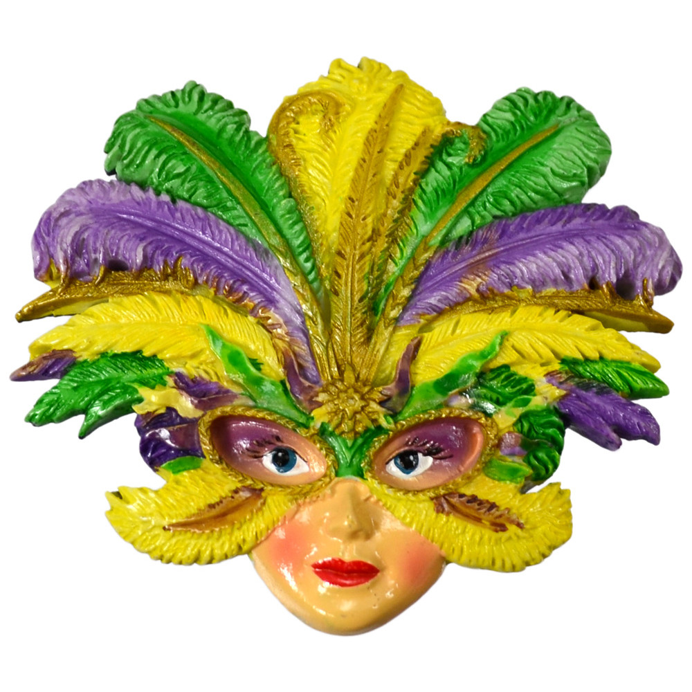 Feathered Mask Lady Magnet [] - MardiGrasOutlet.com