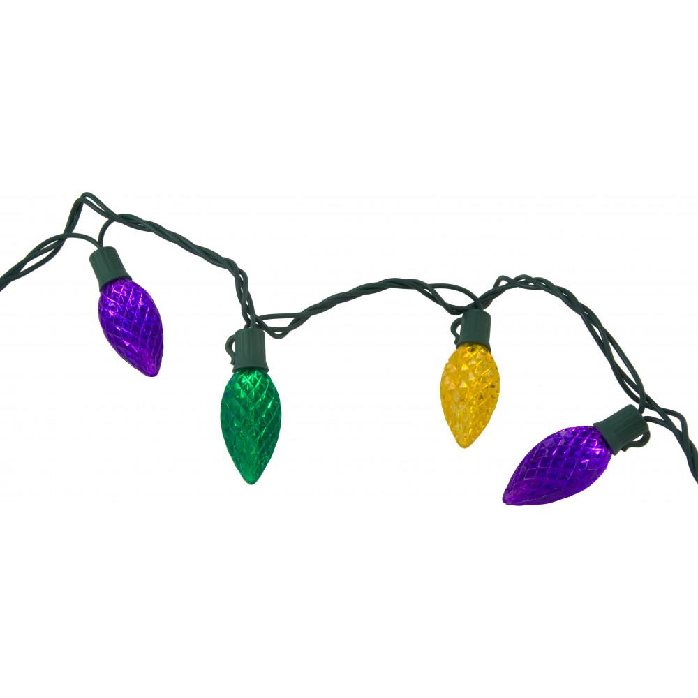 Led Mardi Gras String Lights : LED Mardi Gras Retro Bulb Lights: 40 Light Strand [] - MardiGrasOutlet.com