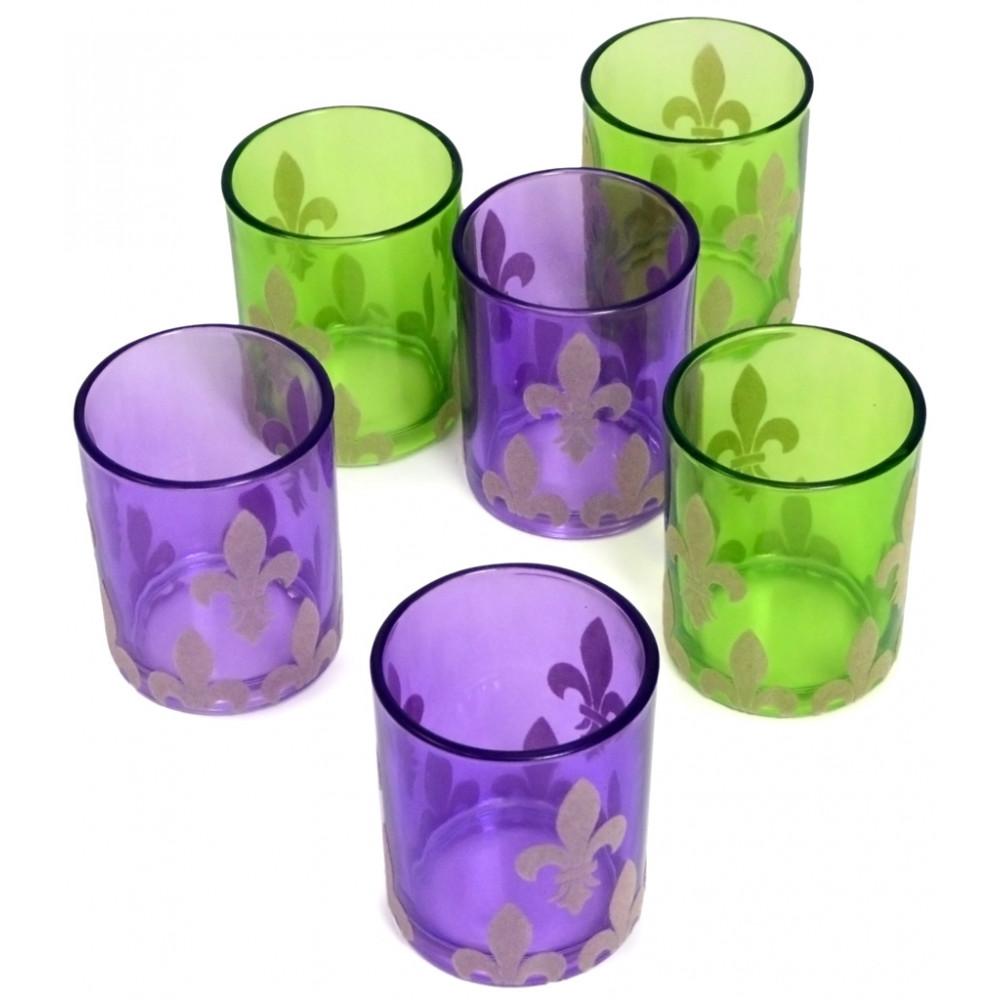 Flocked Fleur De Lis Glass Tea Light Holders 6