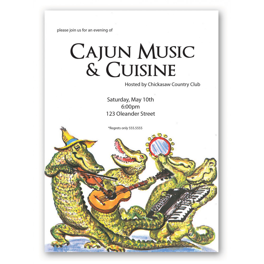 Cajun Zydeco Alligator Band Invitation ...