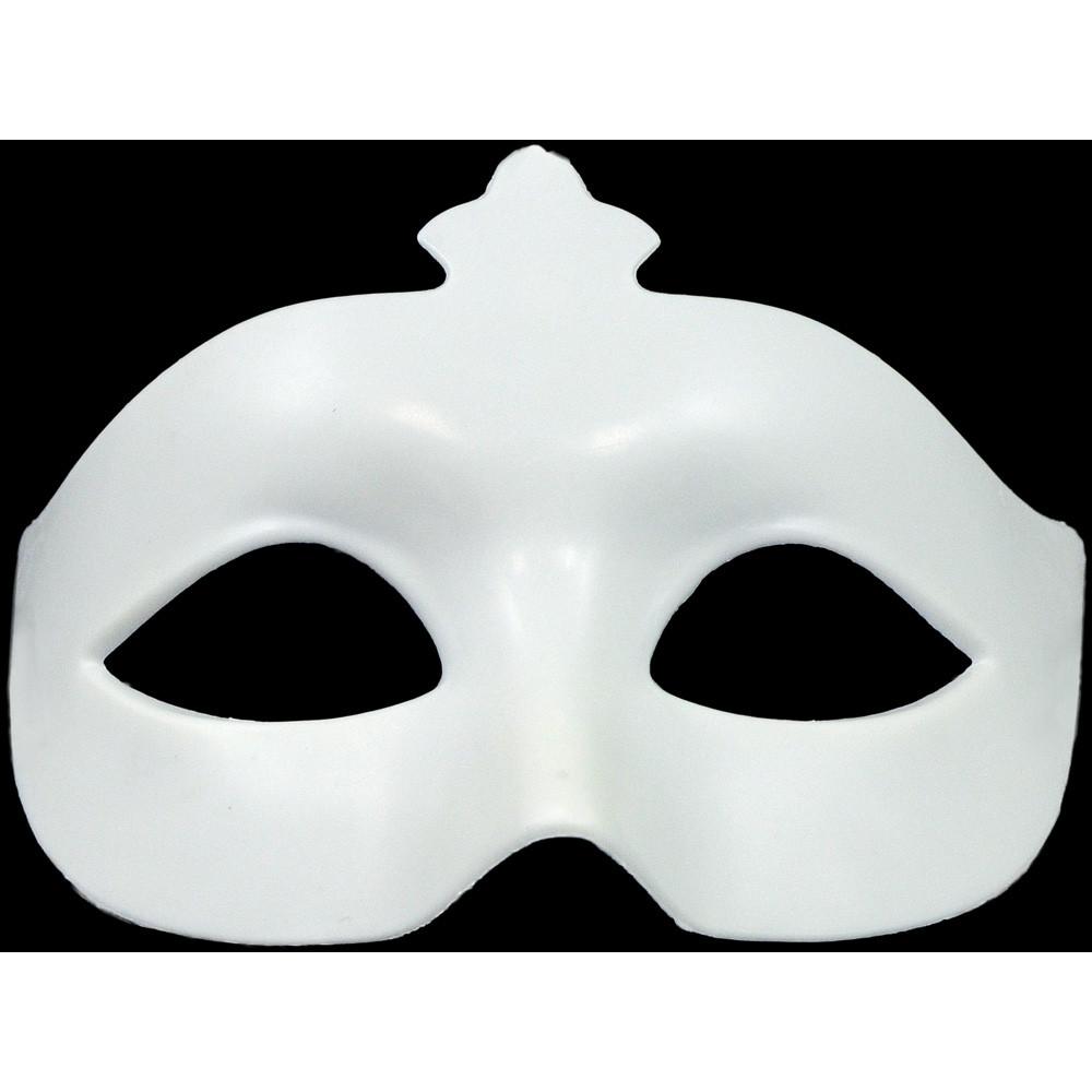 Plastic Crown Eye Mask: White [] - MardiGrasOutlet.com