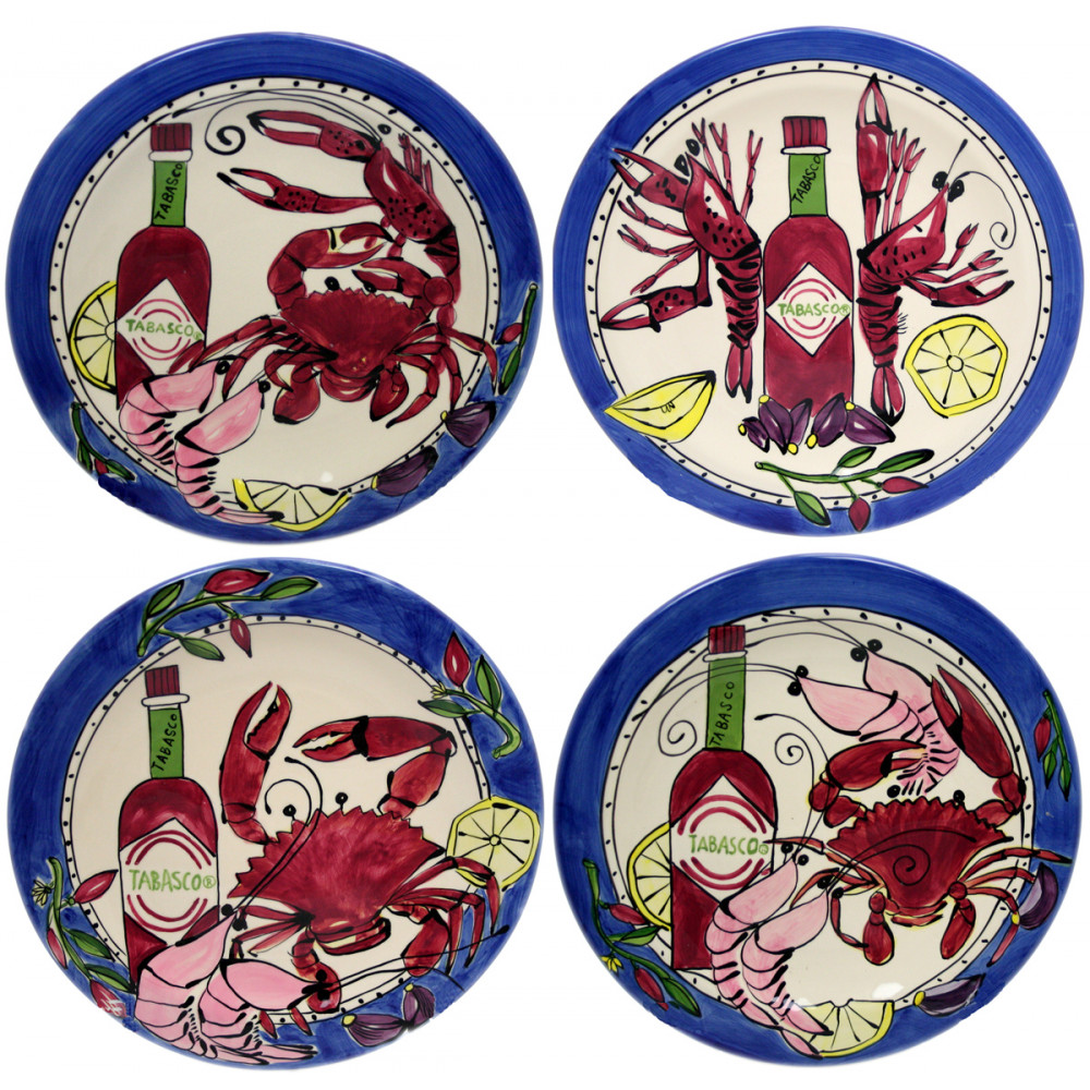 Tabasco Seafood Buffet 10.5  Dinner Plate (Set/4 Assorted)  sc 1 st  Mardi Gras Outlet & Tabasco Seafood Buffet 10.5