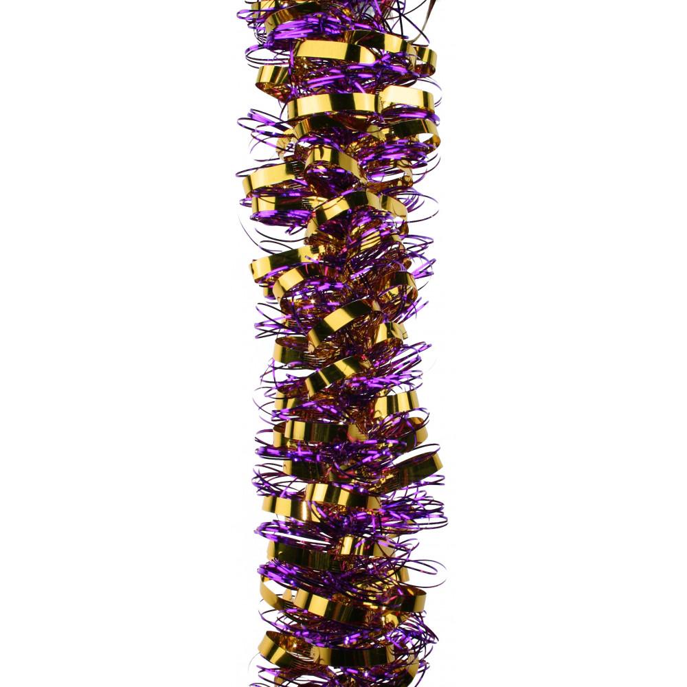 Metallic loop tinsel garland purple gold