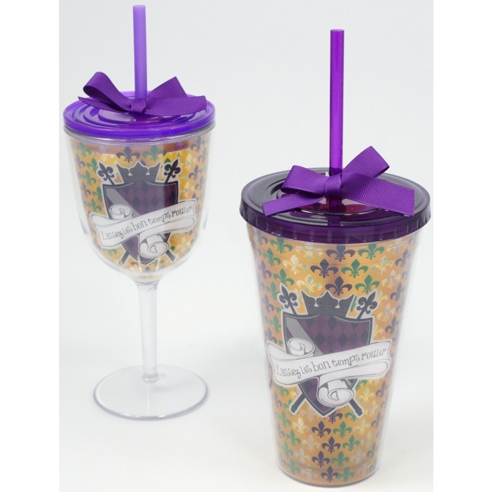 Let The Good Times Roll Mardi Gras Insulated Wine Glass W Lid Straw