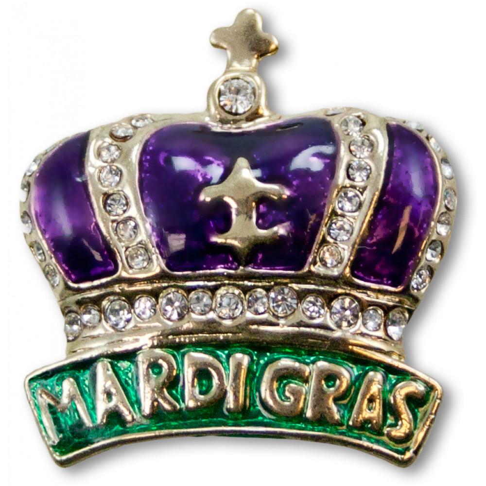 "1"" Purple 'Mardi Gras' Crown Pin [JEJP226] - MardiGrasOutlet.com"