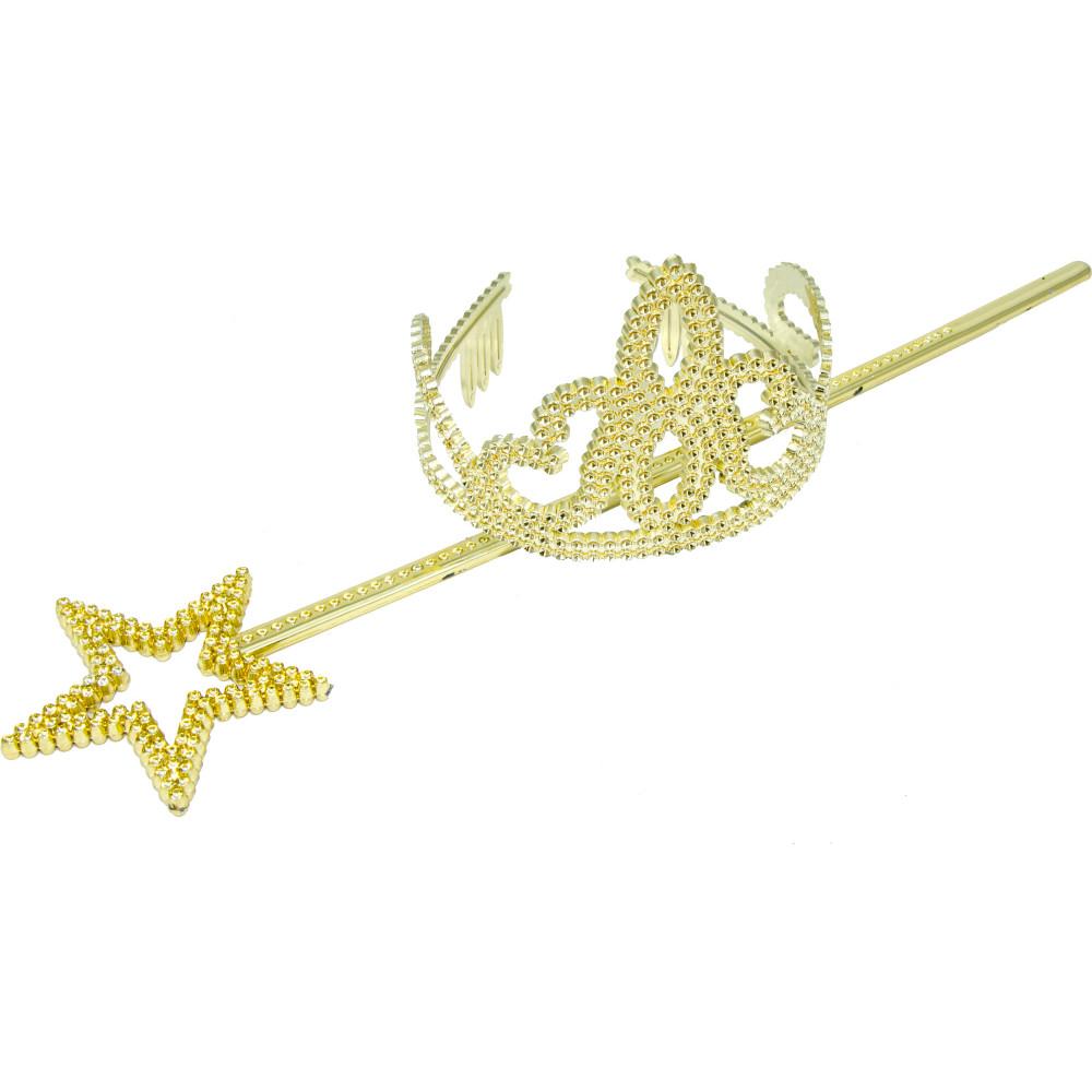 Child\'s Gold Tiara & Wand Set [] - MardiGrasOutlet.com