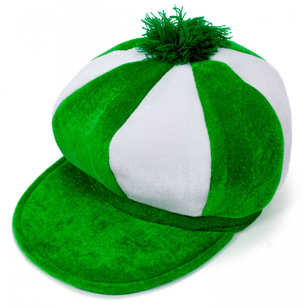 Green & White Velvet Newsboy Hat