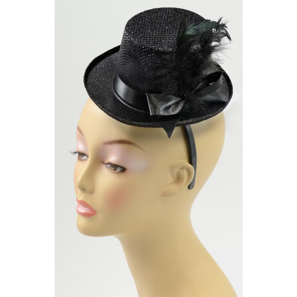 Mini Top Hat Fascinator  Black  24610BKAJ  - MardiGrasOutlet.com 2b7976f8e1b