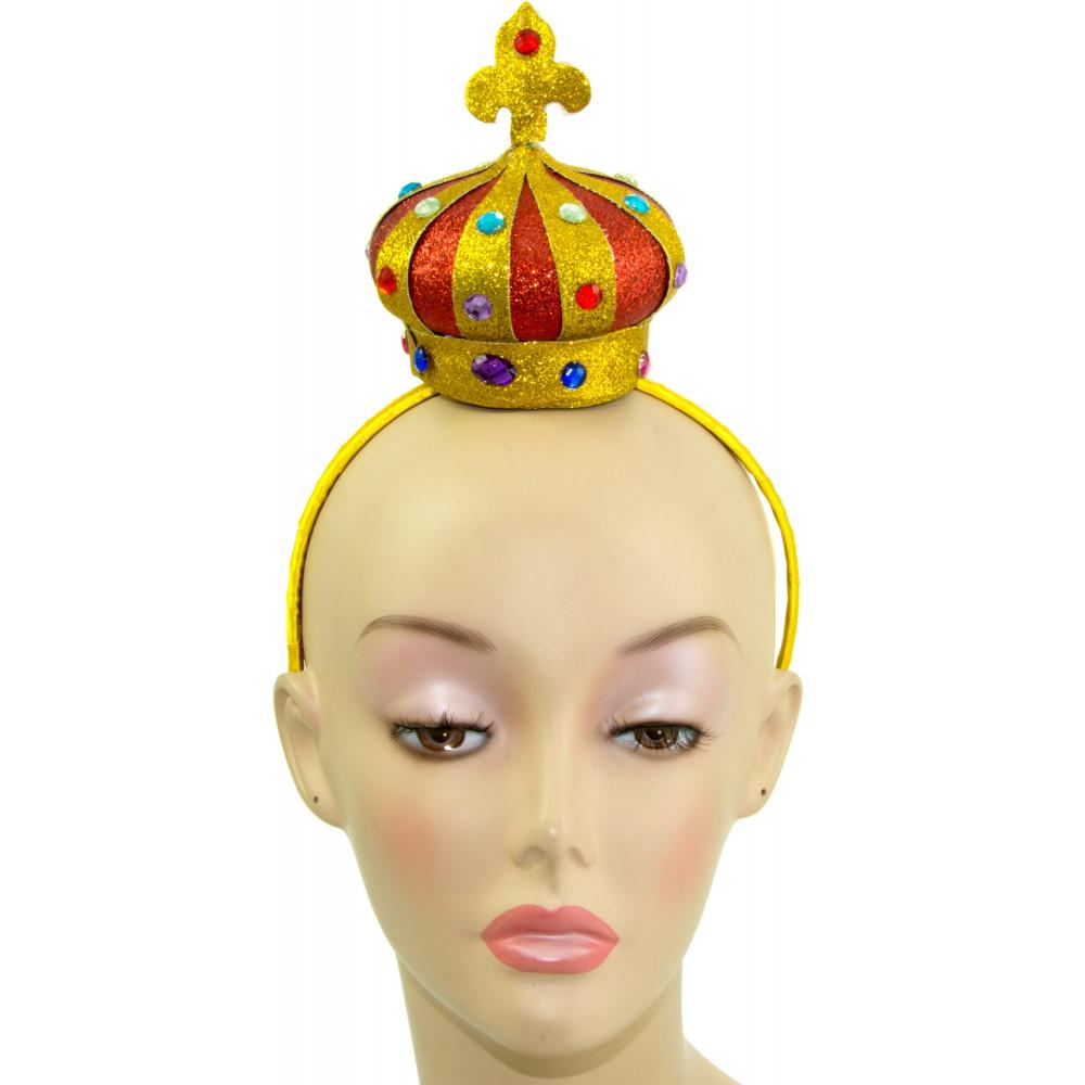 Mini Red   Gold Glitter Crown Headband  25519RDAJ  - MardiGrasOutlet.com 9efd9460e32