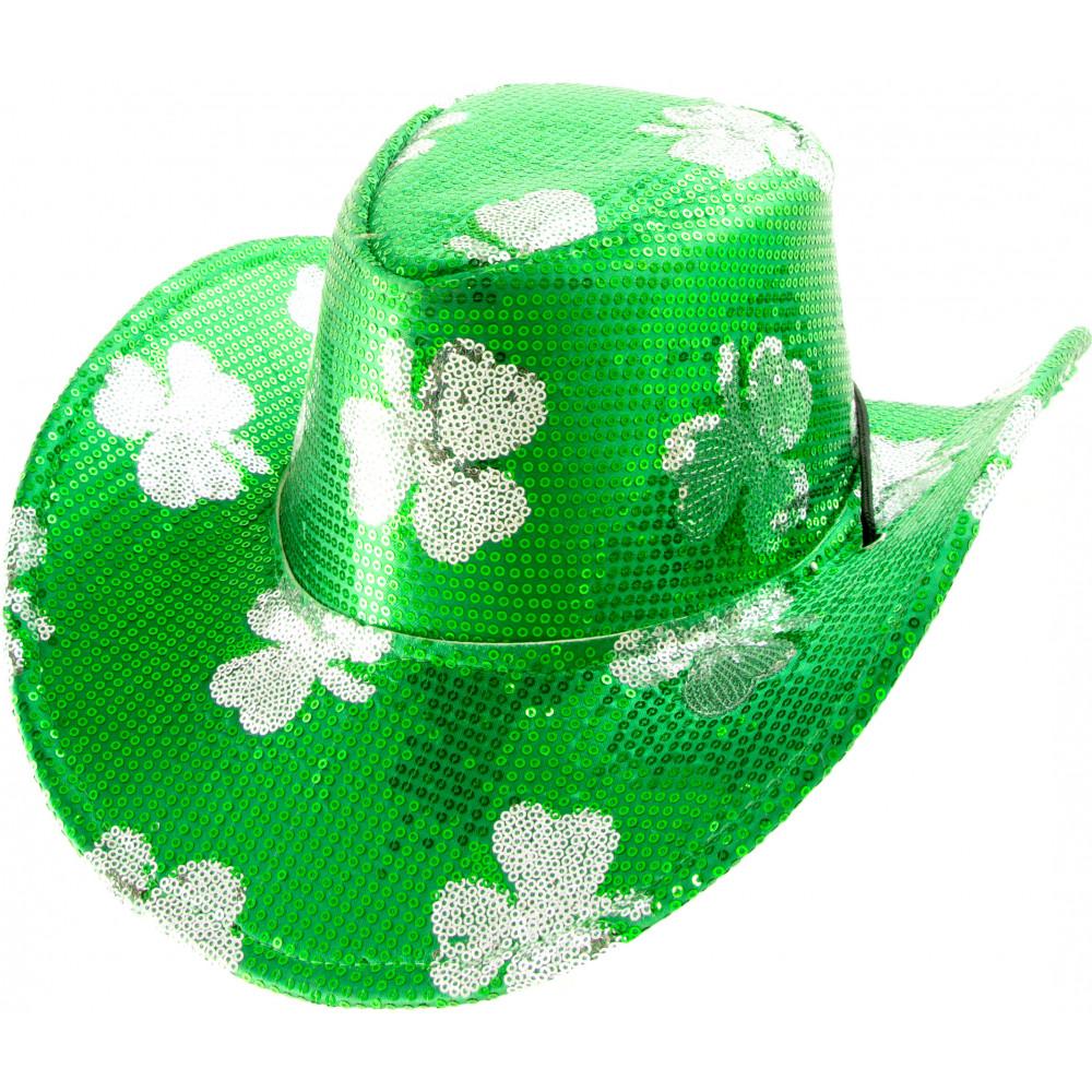St. Patrick s Sequin Cowboy Hat  Silver Clover  26069GNAO ... aa0d0769985
