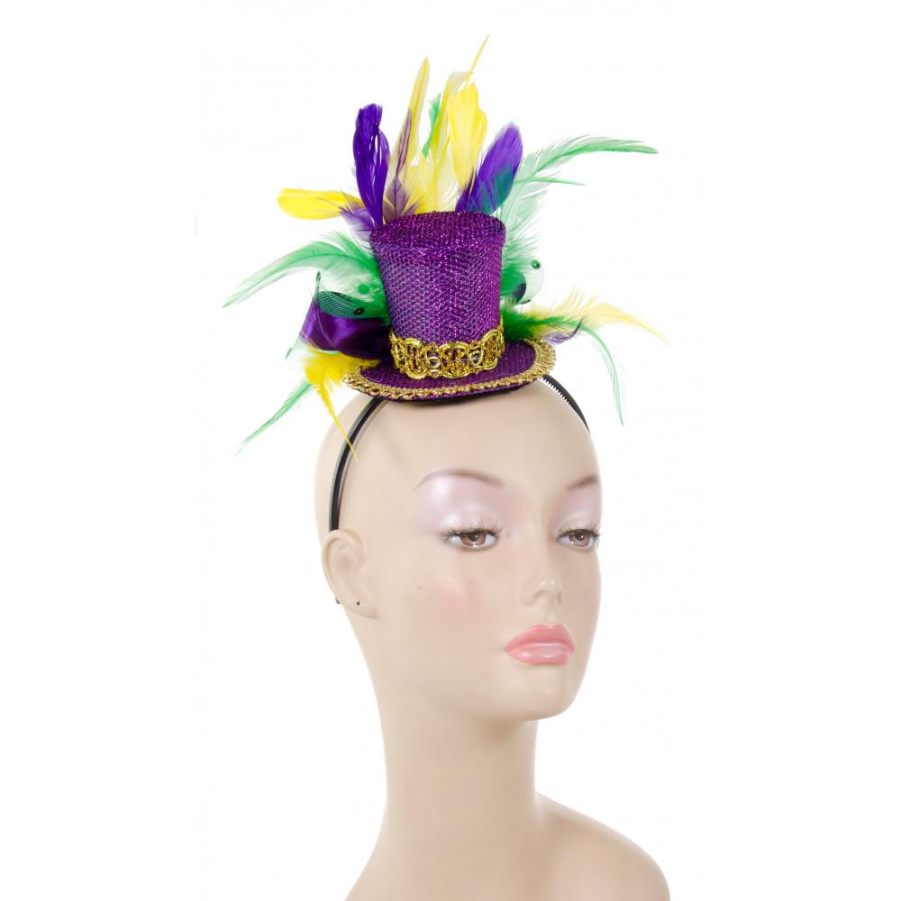 Mini Mardi Gras Glitter Top Hat Headband w  Feathers  26609MGAJ ... 2949b931988