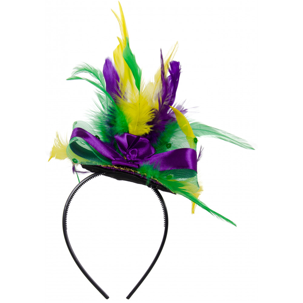 Mini Mardi Gras Glitter Top Hat Headband w  Feathers  26609MGAJ ... 889223b26135