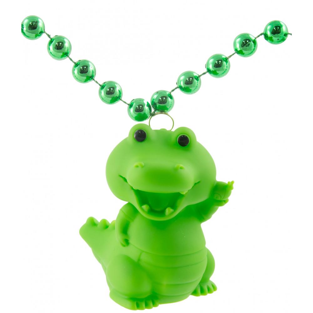 Light Up Alligator Necklace On Green Beads [LMP001-1233 ...