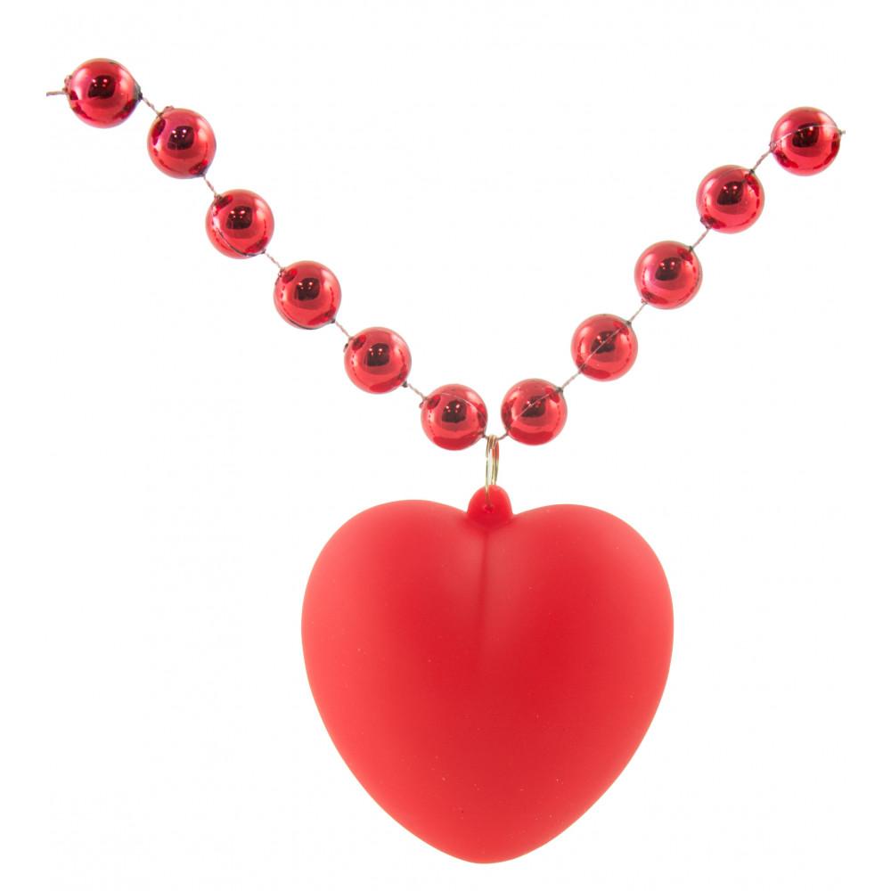Light Up Heart Necklace On Red Beads [LMP004-1233] - MardiGrasOutlet.com