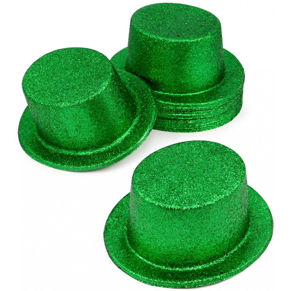 Glitter Green Top Hats (12)    - MardiGrasOutlet.com df5c95a4a28