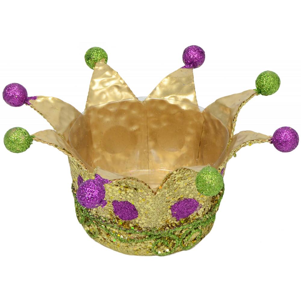 Mardi Gras Glitter Crowns (Set of 2) [] - MardiGrasOutlet.com