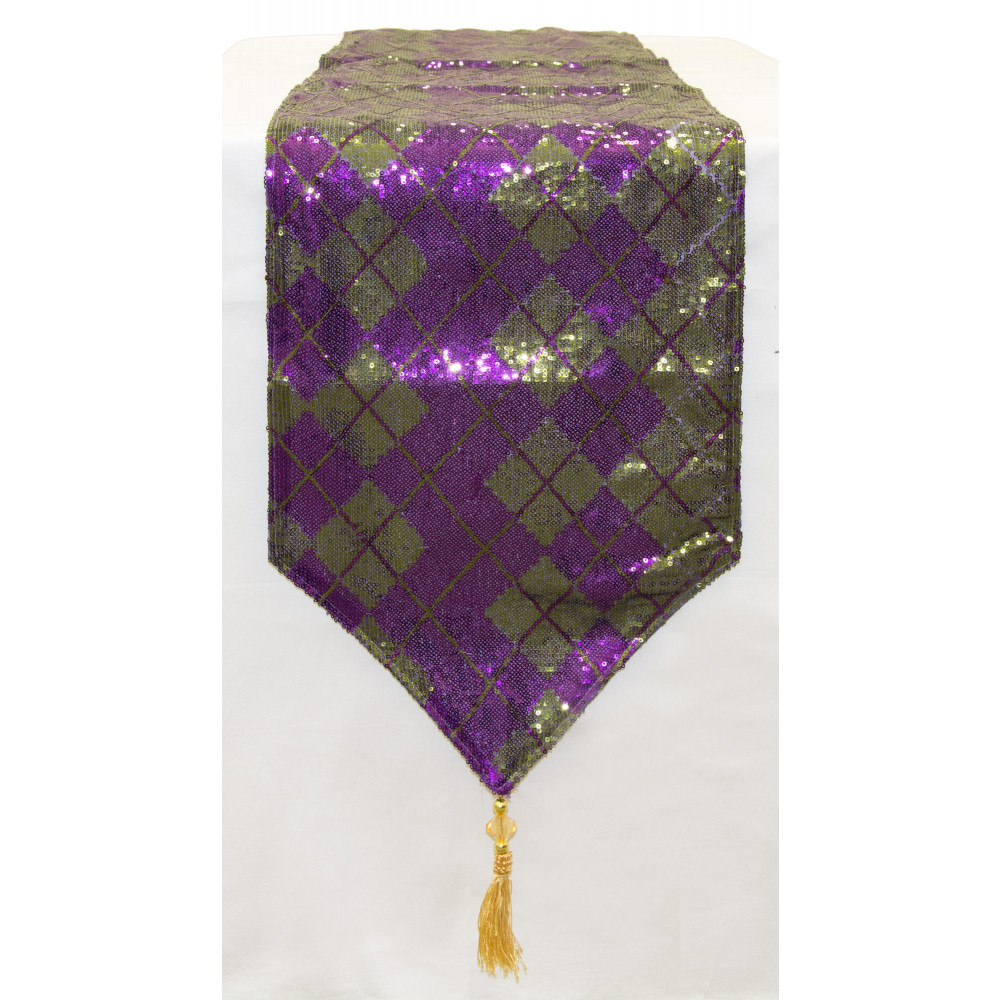 Merveilleux Mardi Gras Sequin Diamond Table Runner: Purple U0026 Green