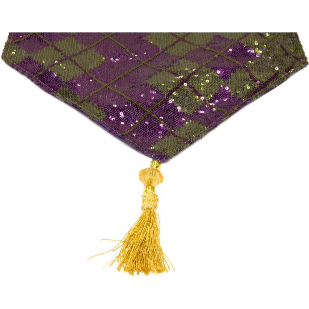 Mardi Gras Sequin Diamond Table Runner: Purple U0026 Green